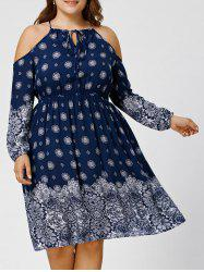 Plus Size Floral Dew Shoulder Bohemian Dress