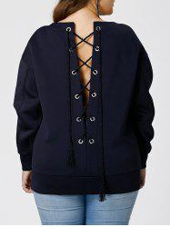 Plus Size Lace Up Sweatshirt - BLACK BLUE
