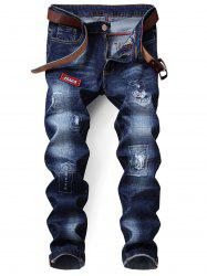 Zip Fly Straight Distressed Patch Jeans