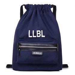 Nylon String Letter Print Backpack - DEEP BLUE