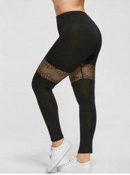 Plus Size Lace Trim Sport Leggings - BLACK 2XL