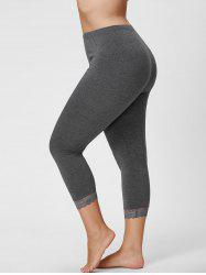 Plus Size Lace Hem Skinny Capri Leggings - GRAY