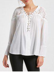 Lace Yoke Lace Up Smock Blouse