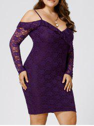Plus Size Dew Shoulder Lace Bodycon Dress