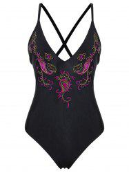 Embroidered Crossback Plus Size Swimsuit