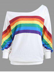 Print Rainbow Plus Size One Shoulder Top - WHITE