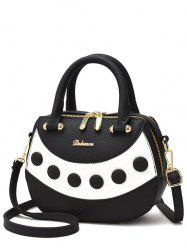 Color Block Textured Leather Handbag - BLACK