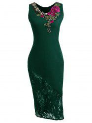 Lace Insert Embroidered Midi Bodycon Dress - GREEN