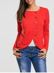 Button Up High Waist Jacket - RED