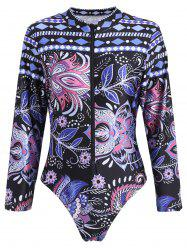 Long Sleeve Sport Plus Size Swimwear - COLORMIX XL