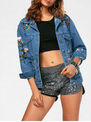 Flower Embroidery Button Up Denim Jacket -