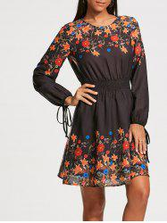 Floral Print Elastic Waist Long Sleeve Dress