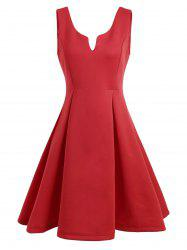 A Line Sleeveless Open Back Club Dress - RED