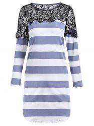 Shift Striped Lace Insert Tunic T-shirt
