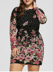 Plus Size Floral Long Sleeve Dress