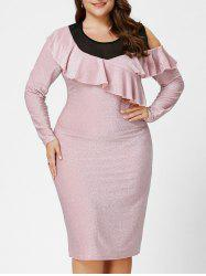 Plus Size Open Shoulder Fitted Sparkly Dress