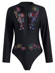 Plus Size Embroidered Sport Swimsuit - BLACK 2XL