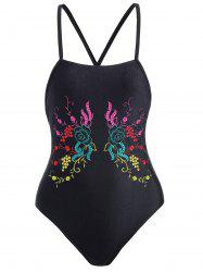 Cross Back Embroidered Plus Size Swimsuit - BLACK XL