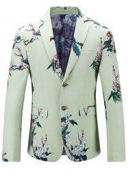 Single Breasted Vintage Floral Print Blazer - LIGHT GREEN