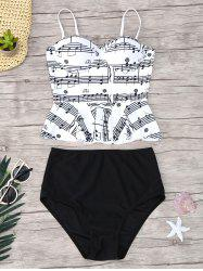 Musical Notes Flounce Peplum Tankini Set - WHITE AND BLACK