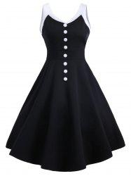 Contrast Buttons Vintage Swing Dress