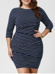 Plus Size Striped Tight Dress