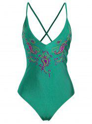 Embroidered Crossback Plus Size Swimsuit - GREEN XL