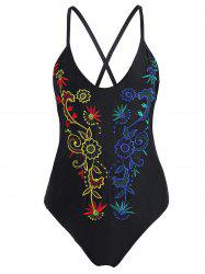 Embroidered Crossback Plus Size Swimsuit - BLACK XL