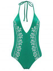 Plus Size Halter Embroidered Swimsuit - GREEN 3XL