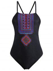 Embroidered Lace Up Plus Size Swimsuit - BLACK 2XL