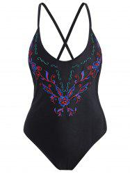 Cross Back Embroidered Plus Size Swimsuit - BLACK 3XL