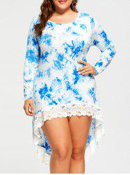 Plus Size Tie Dyed High Low Dress