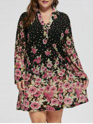 Plus Size Sheer Floral Long Sleeve Dress