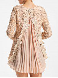 High Low Pleated Lace Blouse