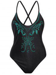 Cross Back Embroidered Plus Size Swimsuit - BLACK AND GREEN XL