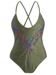 Cross Back Embroidered Plus Size Swimsuit - ARMY GREEN XL