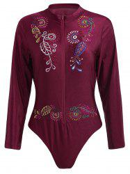 Plus Size Embroidered Sport Swimsuit - WINE RED 3XL