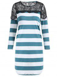 Shift Striped Lace Insert Tunic T-shirt -