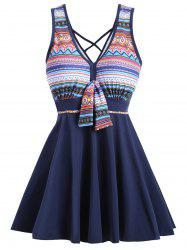 Cross Back Plus Size Skirted One Piece Swimsuit -