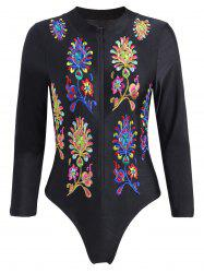 Embroidered Plus Size Swimsuit with Long Sleeve -