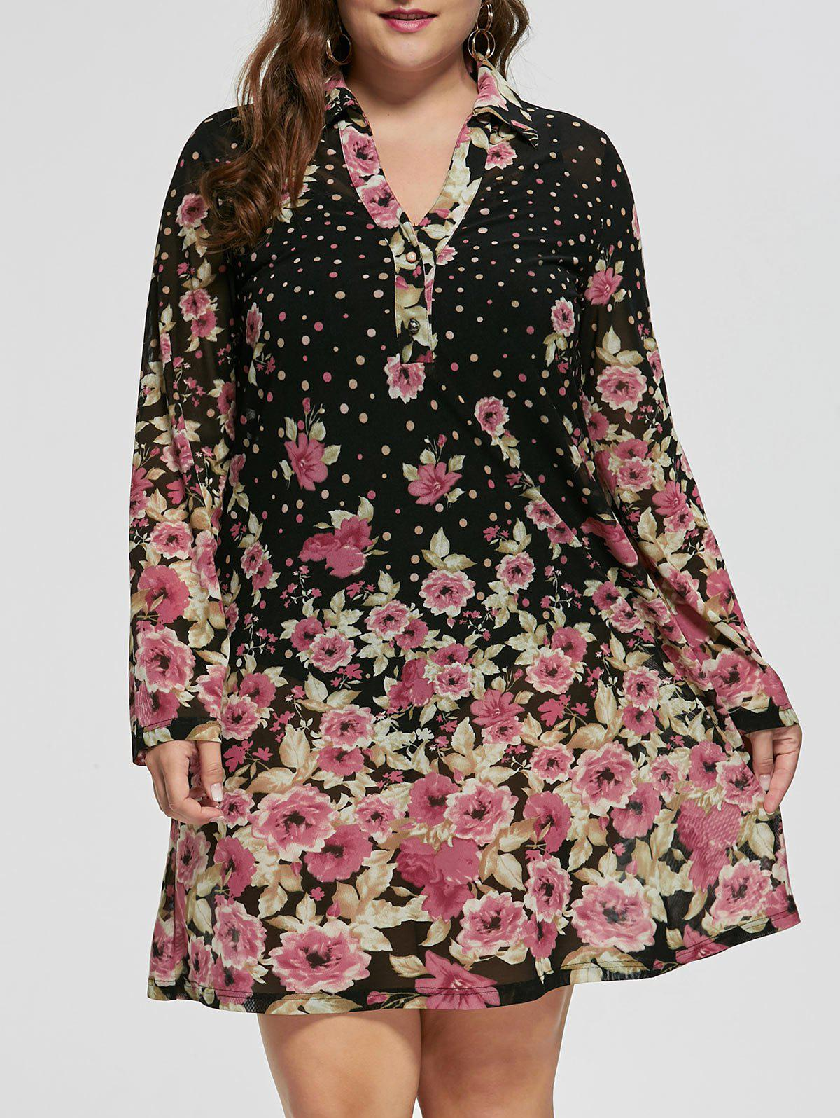 Plus Size Sheer Floral Long Sleeve DressWOMEN<br><br>Size: 5XL; Color: BLACK; Style: Brief; Material: Polyester,Spandex; Silhouette: A-Line; Dresses Length: Knee-Length; Neckline: Shirt Collar; Sleeve Length: Long Sleeves; Pattern Type: Floral; With Belt: No; Season: Fall,Spring; Weight: 0.3200kg; Package Contents: 1 x Dress;