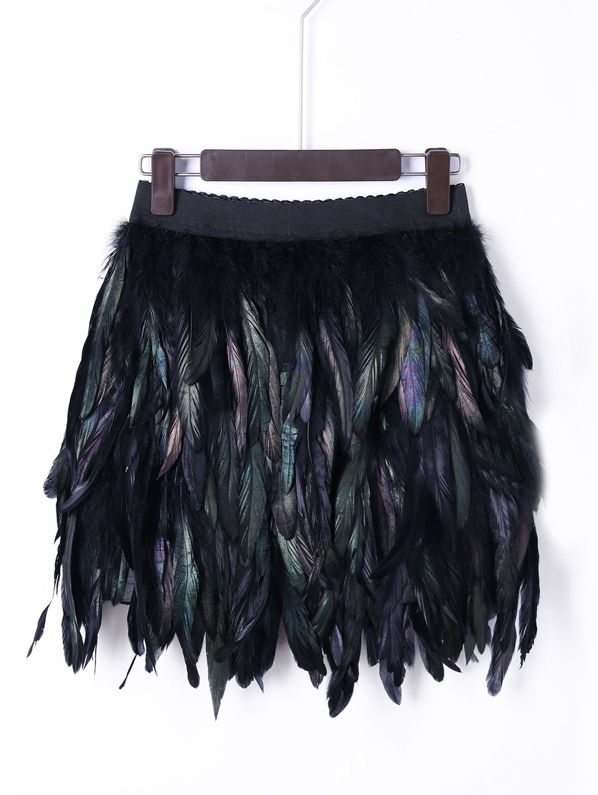 New Halloween Elastic Waist Feather Decorated Skirt