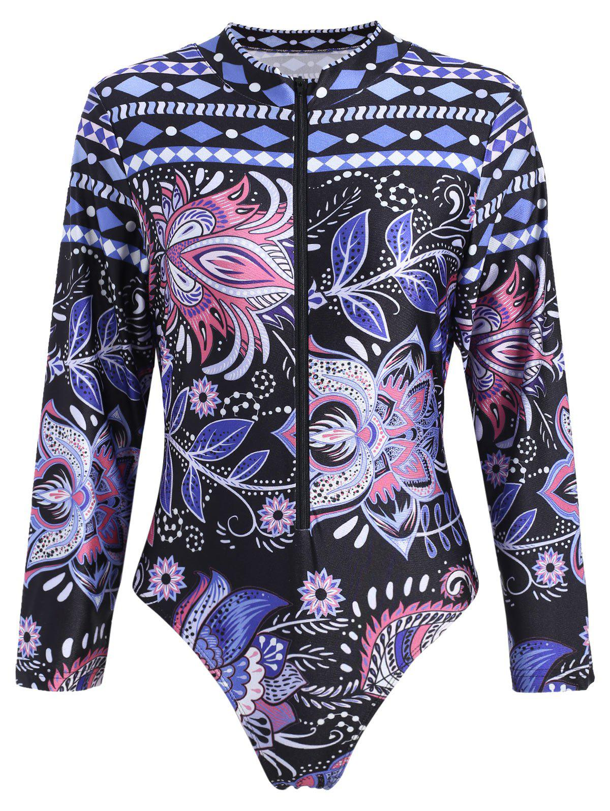 Long Sleeve Sport Plus Size SwimwearWOMEN<br><br>Size: 3XL; Color: COLORMIX; Gender: For Women; Swimwear Type: One Piece; Material: Polyester,Spandex; Support Type: Wire Free; Neckline: High Neck; Pattern Type: Floral; Waist: Natural; Elasticity: Micro-elastic; Weight: 0.2500kg; Package Contents: 1 x Swimwear;