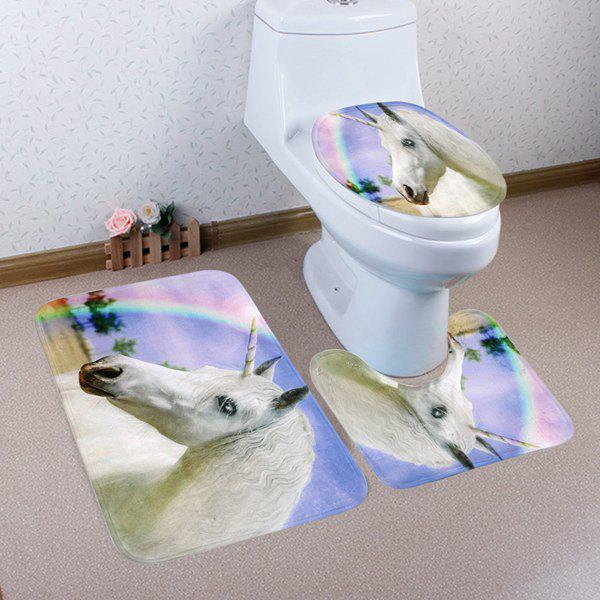 Sale 3Pcs/Set Rainbow Unicorn Non Slip Toilet Rugs