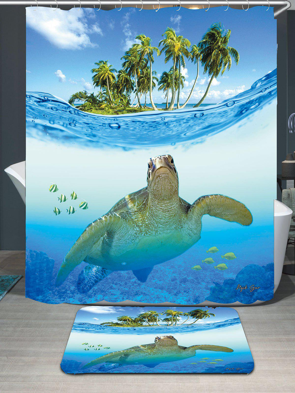 Sea Turtle Waterproof Shower Curtain Carpet SetHOME<br><br>Size: W79 INCH * L71 INCH; Color: BLUE; Products Type: Shower Curtains; Materials: Coral FLeece,Polyester; Pattern: Animal; Style: Fashion; Size: 200 x 180 + 40 x 60 ( CM ); Number of Hook Holes: 12; Package Contents: 1 x Shower Curtain 1 x Rug 1 x Hooks (Set);