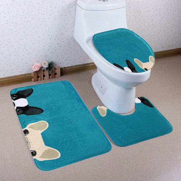 Shop Cartoon Dog Pattern 3 Pcs Bath Mat Toilet Mat