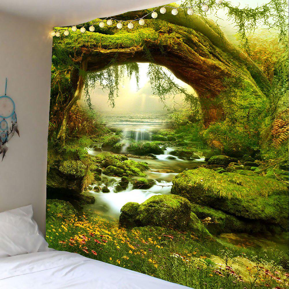 Forest Streams Print Wall Art TapestryHOME<br><br>Size: W59 INCH * L51 INCH; Color: GREEN; Style: Natural; Theme: Landscape; Material: Polyester; Feature: Removable,Washable; Shape/Pattern: Forest,Stream; Weight: 0.2100kg; Package Contents: 1 x Tapestry;