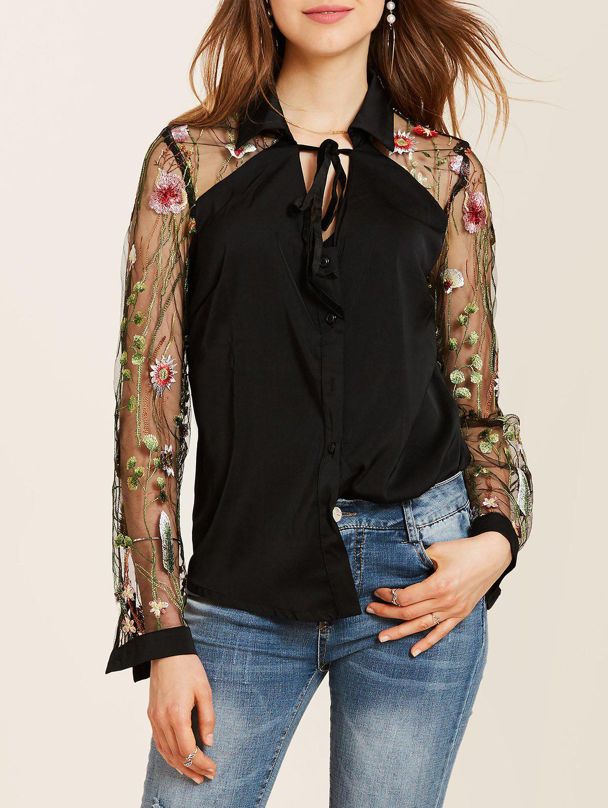 Buy Flower Embroidered Lace Insert Long Sleeve Shirt
