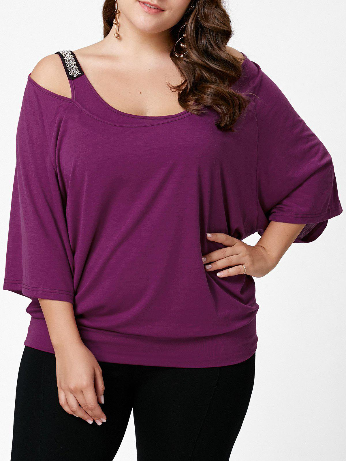 Latest Plus Size Open Shoulder Batwing Sleeve Top