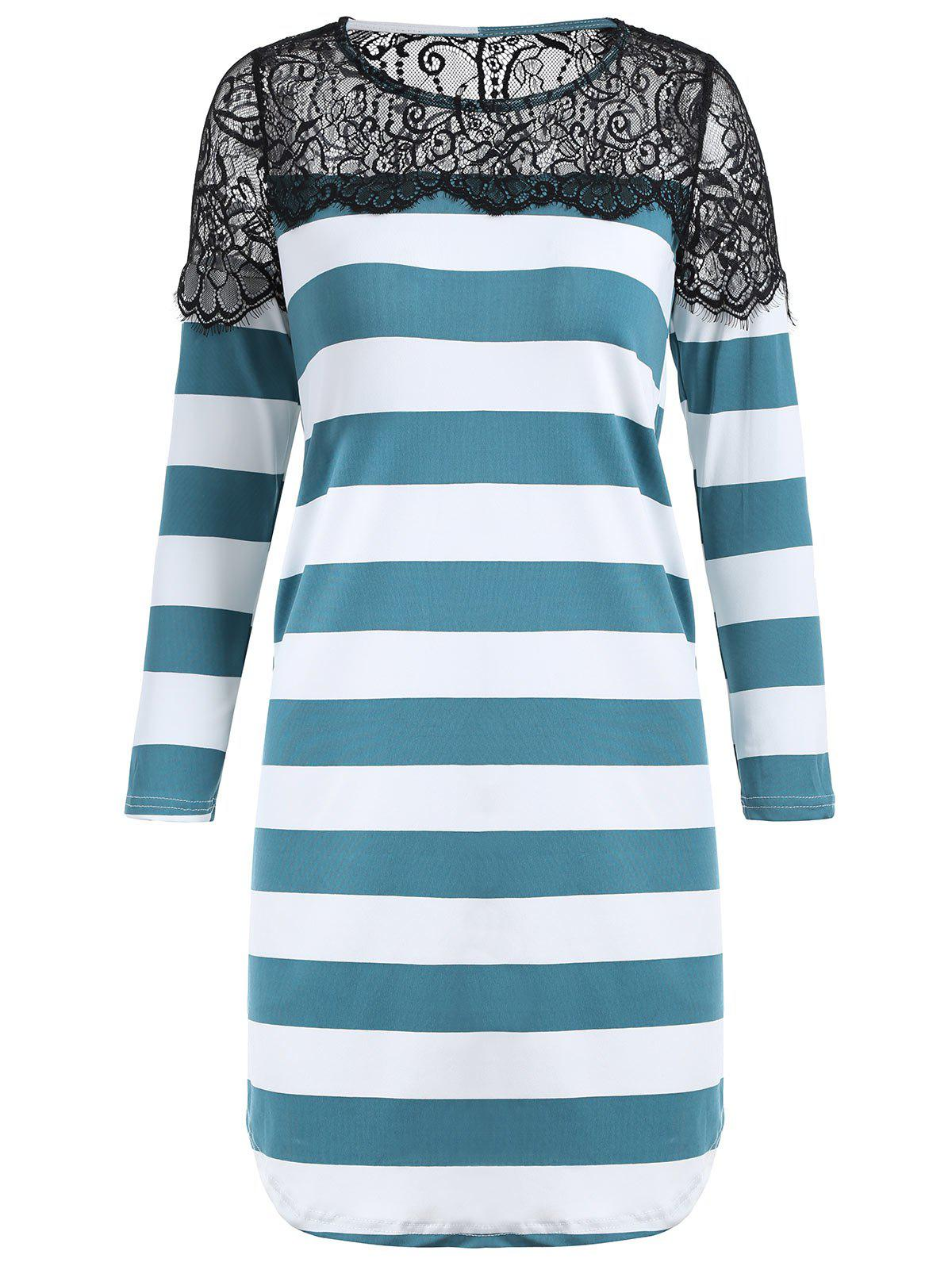 Trendy Shift Striped Lace Insert Tunic T-shirt
